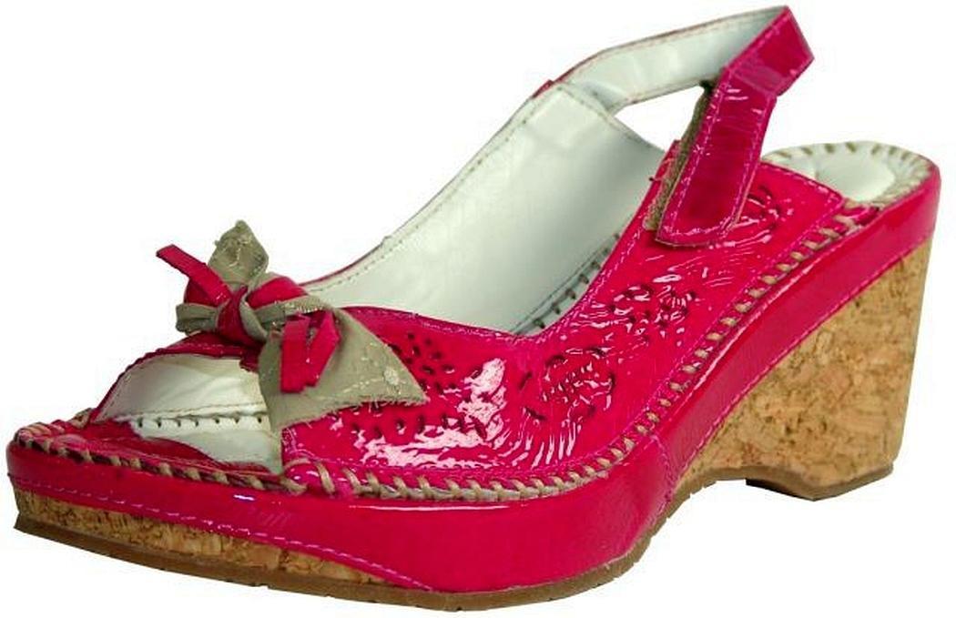 Keil Sandalette Lackleder pink